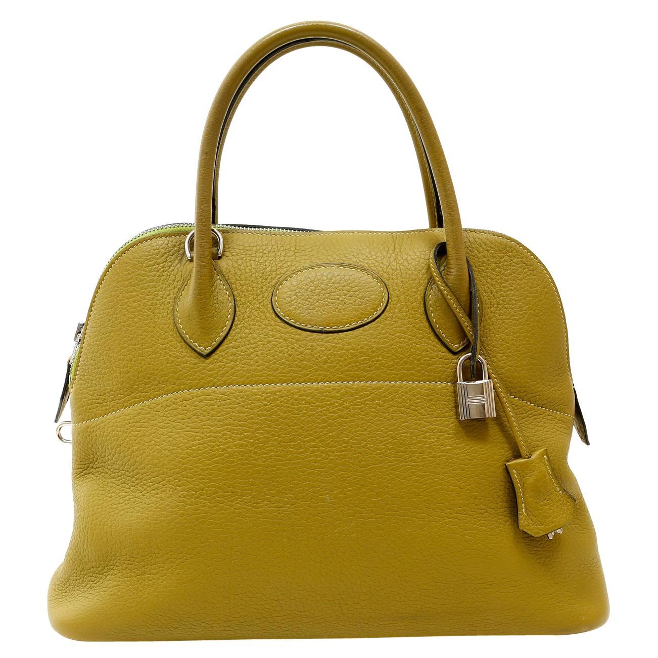 Hermès Vert Anis Clemence Leather 27 cm Bolide Bag