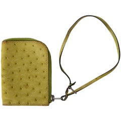 HERMES Vert Anis green OSTRICH Zip Wallet