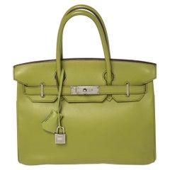 Hermes Vert Anis Swift Leather Palladium Finished Birkin 30 Bag