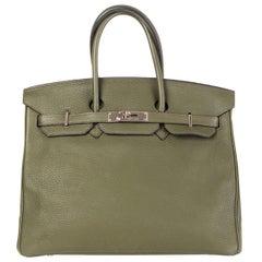 HERMES Vert Bronze green Clemence leather BIRKIN 35 Bag