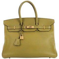 Hermes Vert Chartreuse Green Clemence with Gold Hardware 35 Birkin Handbag