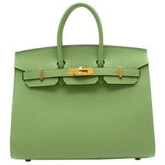 Hermes Vert Criquet Epsom Leather Birkin 25 GHW - Y 2020