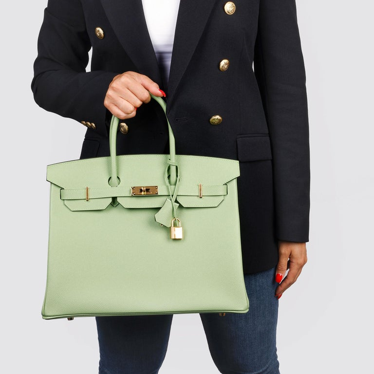 Hermès Vert Criquet Epsom Leather Birkin 35cm  For Sale 8