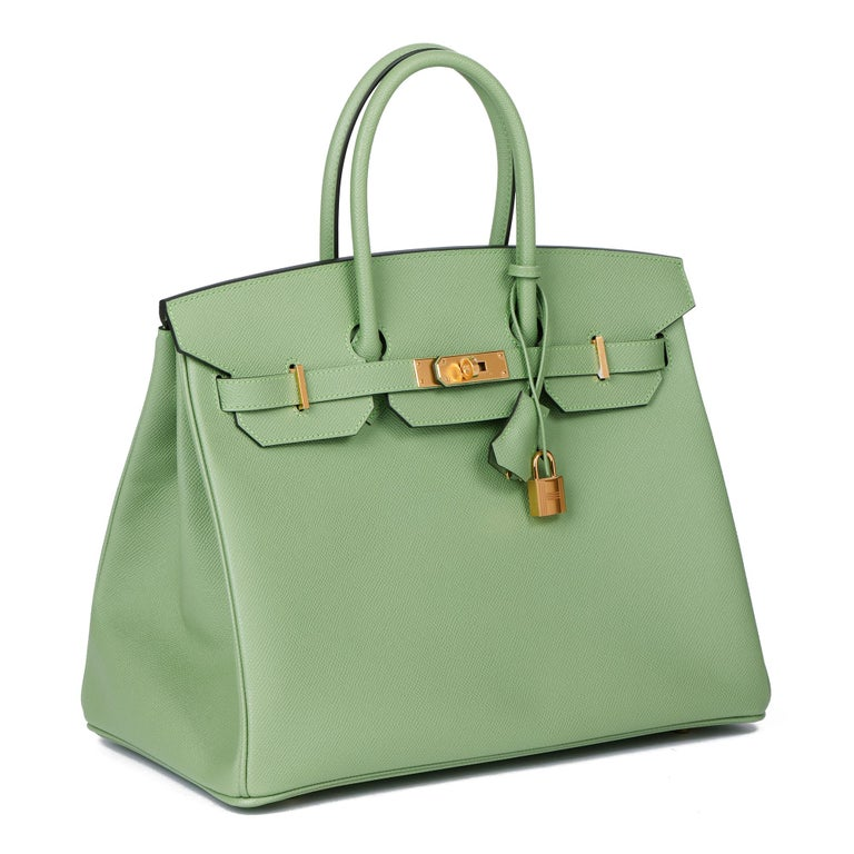 HERMÈS Vert Criquet Epsom Leather Birkin 35cm   Xupes Reference: HB3989 Serial Number: Y Age (Circa): 2021 Accompanied By: Hermès Dust Bag, Box, Care Booklet, Protective Felt, Padlock, Keys, Clochette, Rain Cover Authenticity Details: Date Stamp