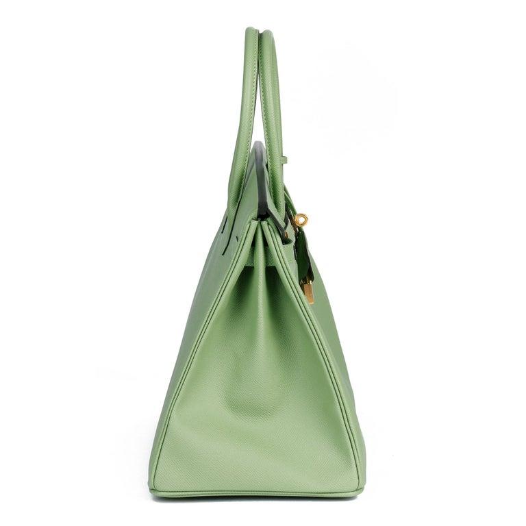 Hermès Vert Criquet Epsom Leather Birkin 35cm  In New Condition For Sale In Bishop's Stortford, Hertfordshire