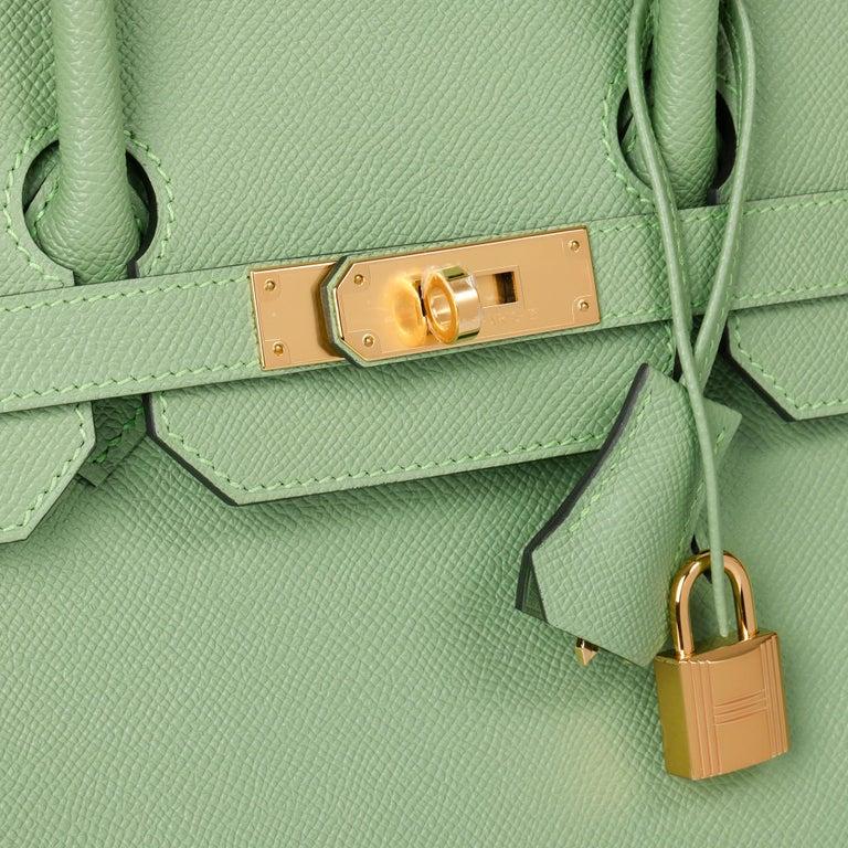 Hermès Vert Criquet Epsom Leather Birkin 35cm  For Sale 3