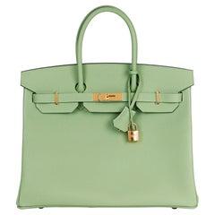 Hermès Vert Criquet Epsom Leather Birkin 35cm