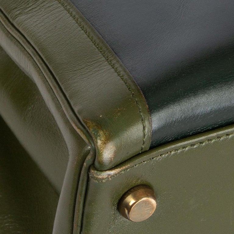 HERMES Vert green Box leather BI-COLOR KELLY 32 RETOURNE Bag Gold For Sale 5