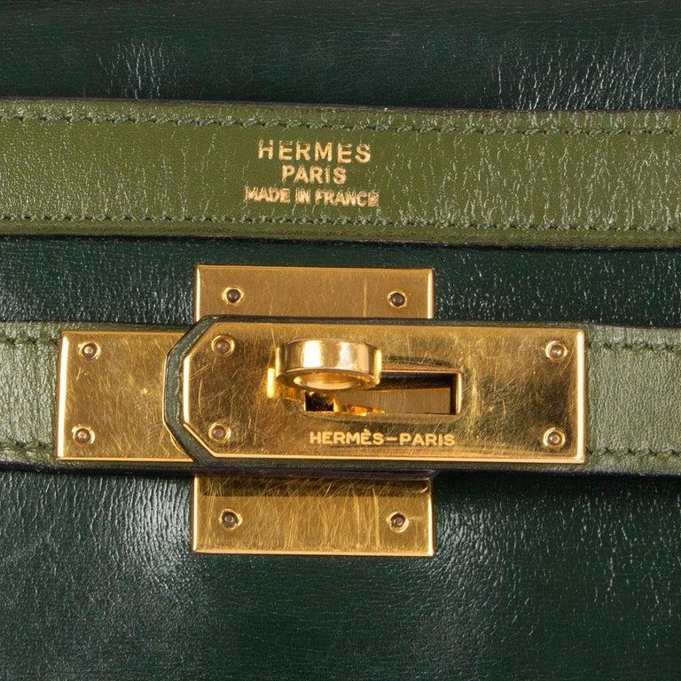 HERMES Vert green Box leather BI-COLOR KELLY 32 RETOURNE Bag Gold For Sale 6