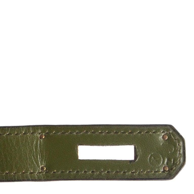 HERMES Vert green Box leather BI-COLOR KELLY 32 RETOURNE Bag Gold For Sale 7