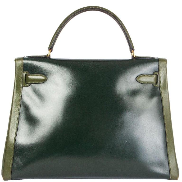 Black HERMES Vert green Box leather BI-COLOR KELLY 32 RETOURNE Bag Gold For Sale