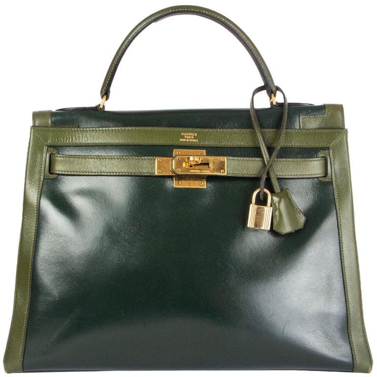 Women's HERMES Vert green Box leather BI-COLOR KELLY 32 RETOURNE Bag Gold For Sale