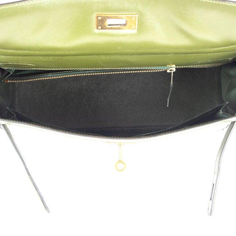 HERMES Vert green Box leather BI-COLOR KELLY 32 RETOURNE Bag Gold For Sale 1