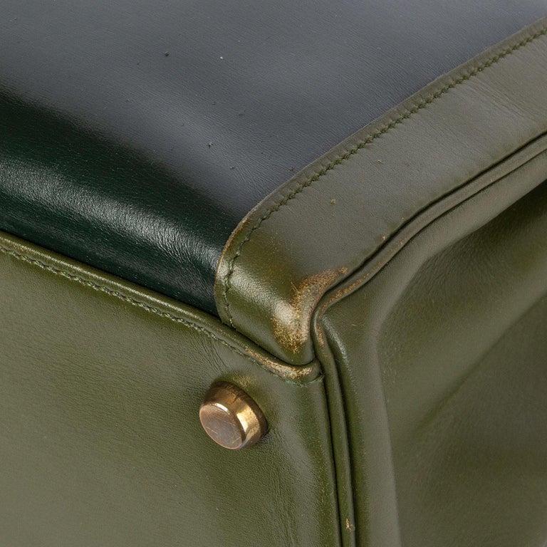HERMES Vert green Box leather BI-COLOR KELLY 32 RETOURNE Bag Gold For Sale 2
