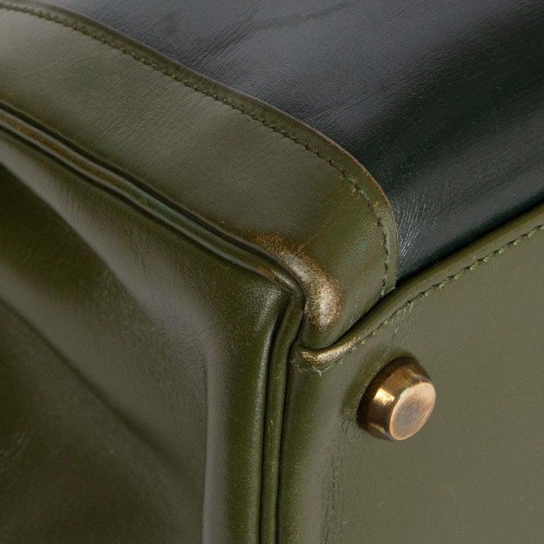 HERMES Vert green Box leather BI-COLOR KELLY 32 RETOURNE Bag Gold For Sale 3