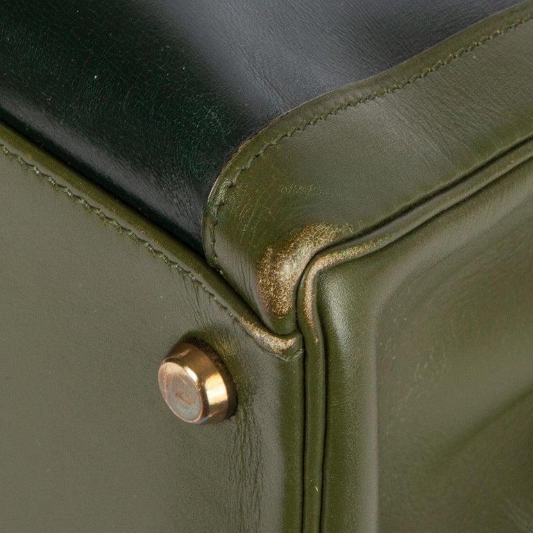 HERMES Vert green Box leather BI-COLOR KELLY 32 RETOURNE Bag Gold For Sale 4