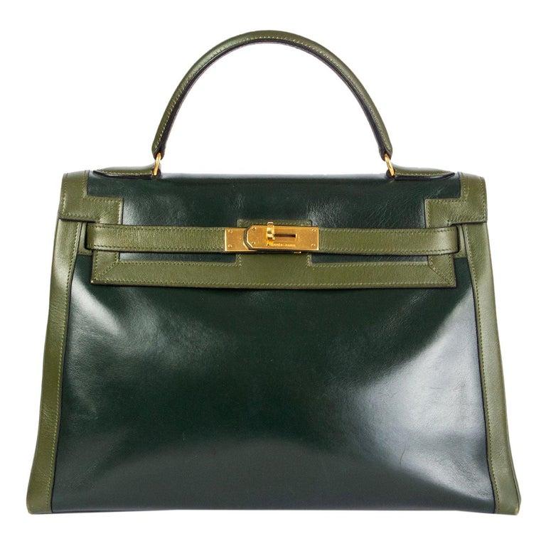 HERMES Vert green Box leather BI-COLOR KELLY 32 RETOURNE Bag Gold For Sale