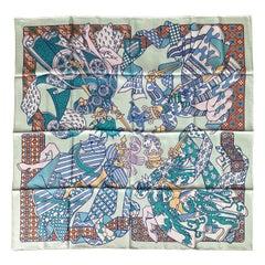 Hermes Vert Pale Green/Turquoise Duels Oniriques 90cm Silk Scarf by Pierre Marie