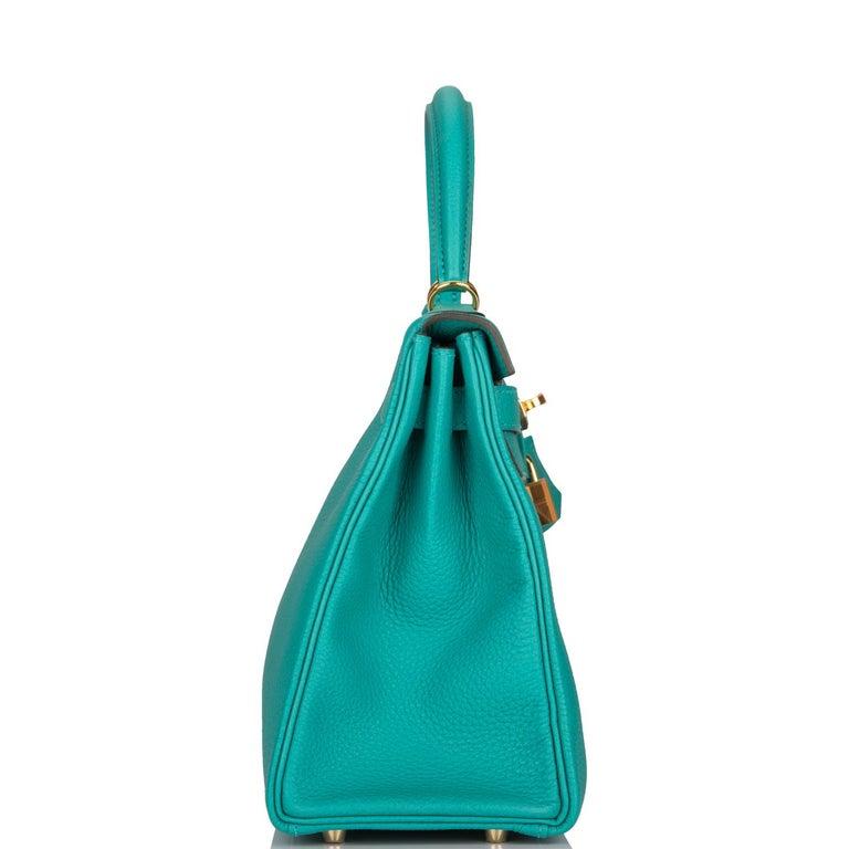 Blue Hermes Kelly 28 Bag Vert Verone Togo  Gold Hardware  For Sale