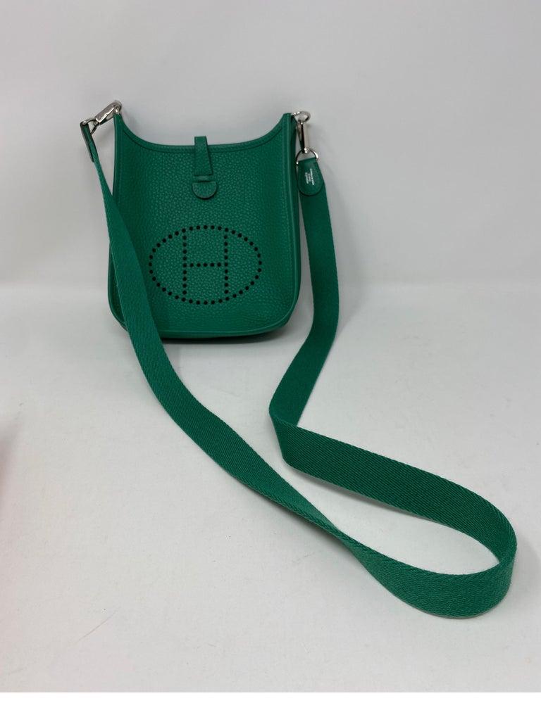 Hermes Vertigo Green Evelyne TPM Bag. Beautiful green color mini Hermes bag. Mint like new condition. Includes Hermes box. Hard to find mini size. Palladium hardware. Rare color. Guaranteed authentic.