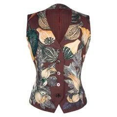 Hermes Vest Citrouilles Et Coloquintes Silk Print Vintage 40 / 6