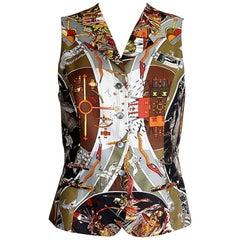 Hermes Vest Les Mythologies des Hommes Rouge Scarf Print Vintage 38 / 6