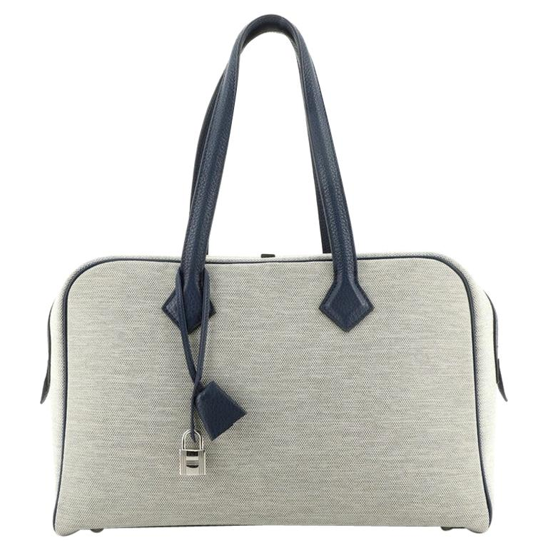 Hermes Victoria II Bag Toile with Leather 35