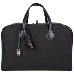 Hermes Victoria ll Fourre-Tout 43 Travel Bag Black Toile Palladium Hardware New