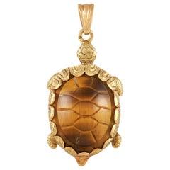 Hermès Vintage 18k Yellow Gold Tiger's Eye Turtle Pendant