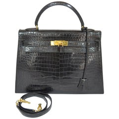 Hermès Vintage 1959 Black Crocodile Kelly Bag 32cm