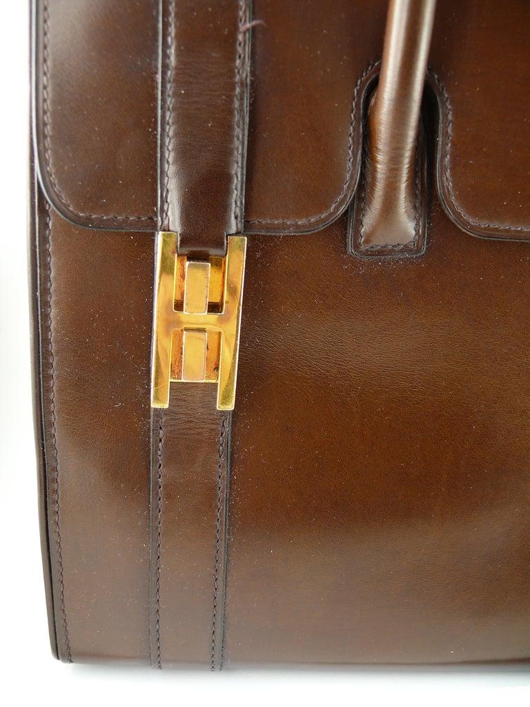 Hermes Vintage 1962 Brown Box Leather 27cm Drag Bag For Sale 5