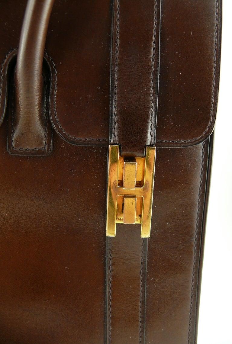 Hermes Vintage 1962 Brown Box Leather 27cm Drag Bag For Sale 6