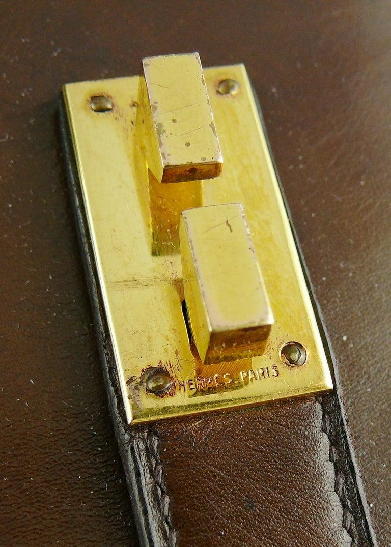Hermes Vintage 1962 Brown Box Leather 27cm Drag Bag For Sale 7