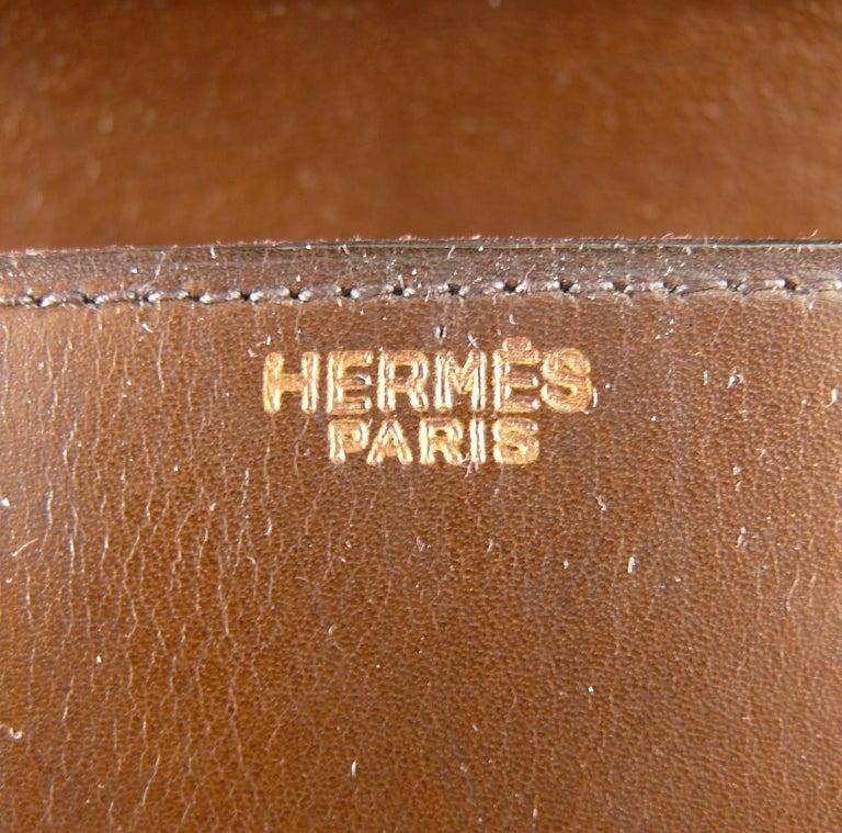 Hermes Vintage 1962 Brown Box Leather 27cm Drag Bag For Sale 8