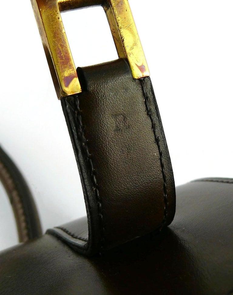 Hermes Vintage 1962 Brown Box Leather 27cm Drag Bag For Sale 9