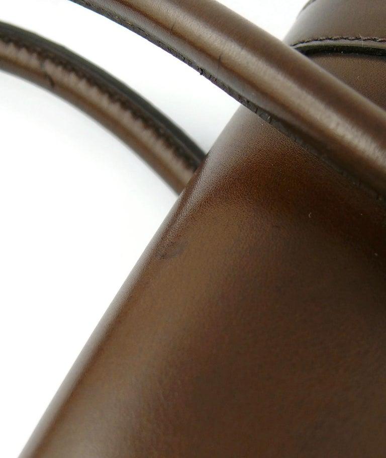 Hermes Vintage 1962 Brown Box Leather 27cm Drag Bag For Sale 10