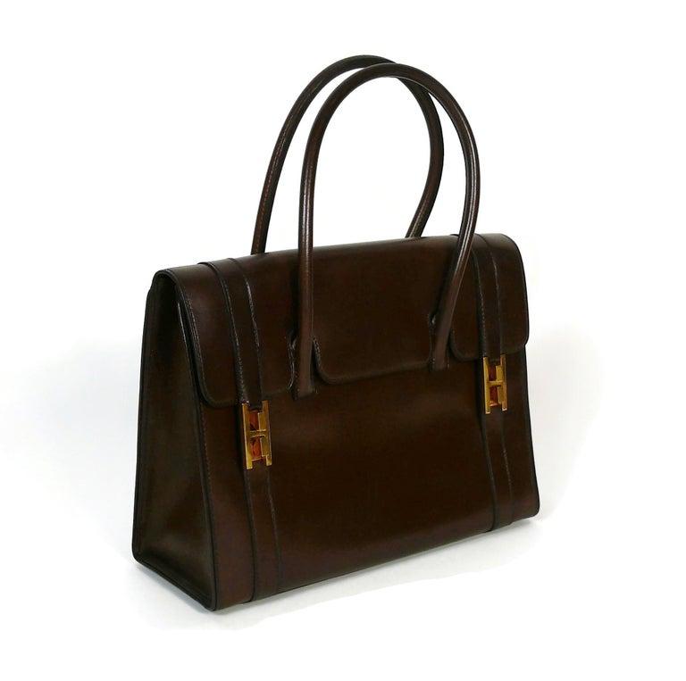 Black Hermes Vintage 1962 Brown Box Leather 27cm Drag Bag For Sale