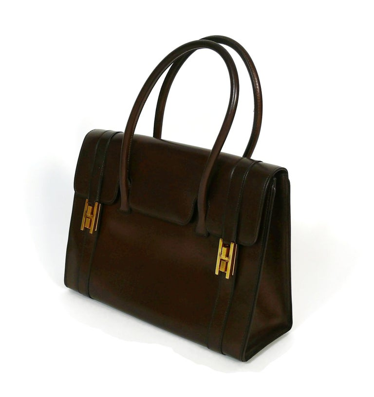 Hermes Vintage 1962 Brown Box Leather 27cm Drag Bag In Good Condition For Sale In Nice, FR
