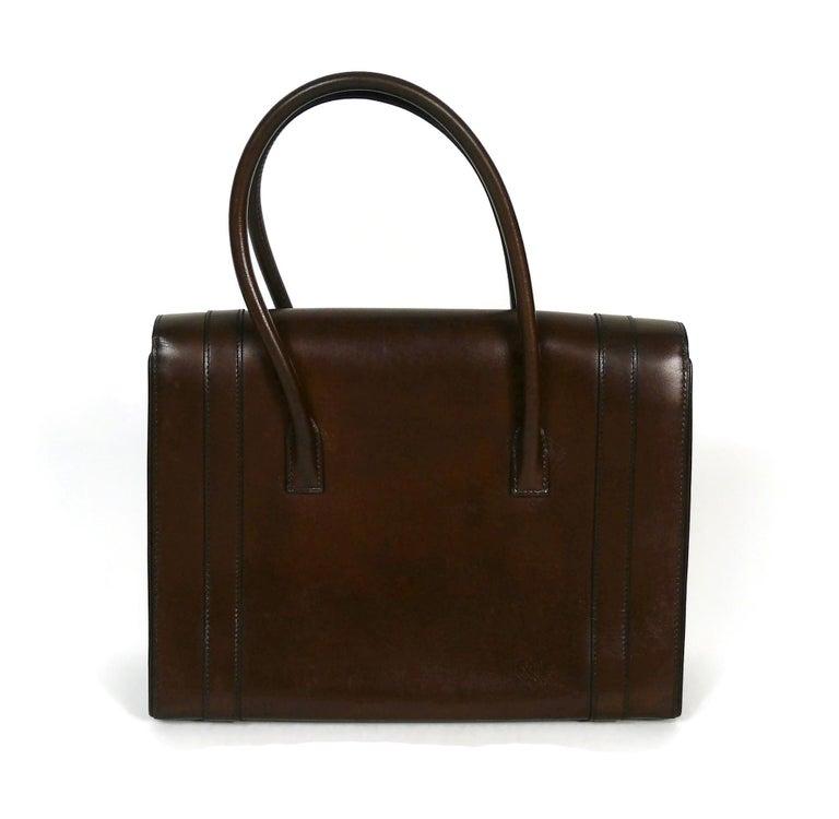 Women's Hermes Vintage 1962 Brown Box Leather 27cm Drag Bag For Sale