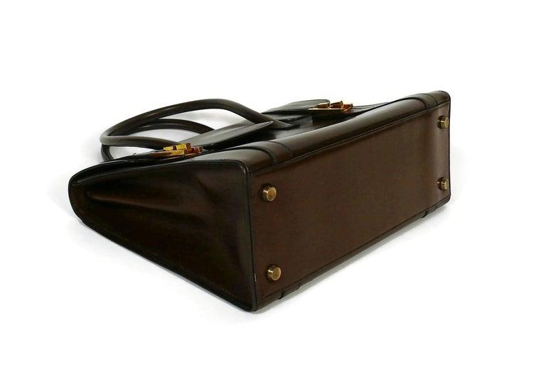 Hermes Vintage 1962 Brown Box Leather 27cm Drag Bag For Sale 1