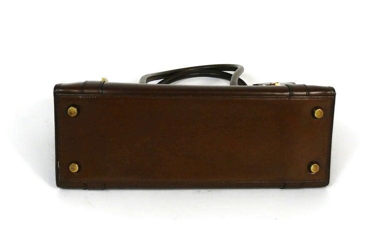 Hermes Vintage 1962 Brown Box Leather 27cm Drag Bag For Sale 2