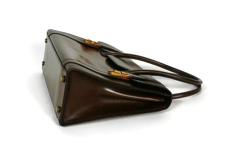 Hermes Vintage 1962 Brown Box Leather 27cm Drag Bag For Sale 3
