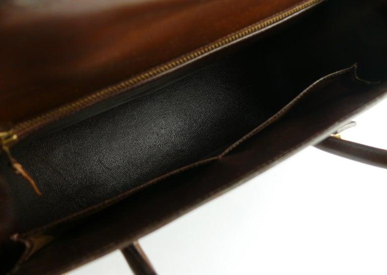 Hermes Vintage 1962 Brown Box Leather 27cm Drag Bag For Sale 4