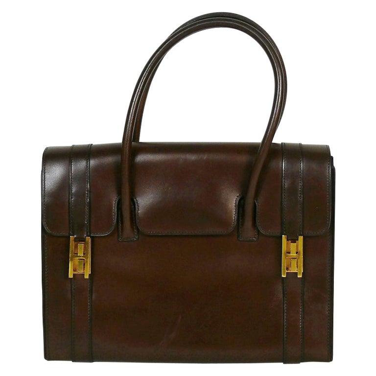 Hermes Vintage 1962 Brown Box Leather 27cm Drag Bag For Sale