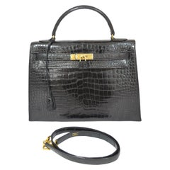 Hermès Vintage 1986 Kelly 32cm Bag Black Crocodile