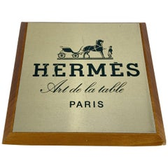 Hermes Vintage Art de la Table Wood Shelf Talker Square Plate