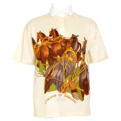 "Hermes vintage ""Attelage en Arbalete"" by Philippe Ledoux cotton polo t-shirt top"