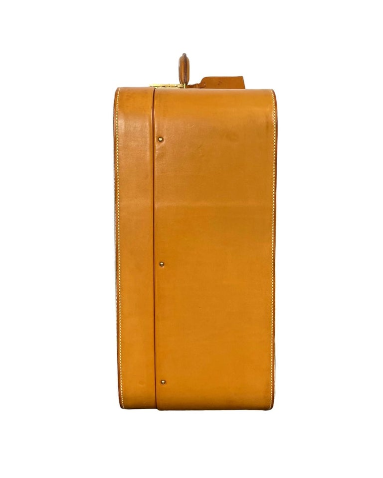 Beige Hermès Vintage Automobile Valise Suitcase Travel Luggage, circa 1972. For Sale
