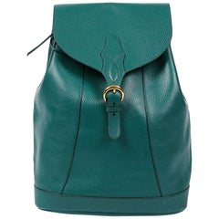 HERMES Vintage Backpack In Green Grained Leather