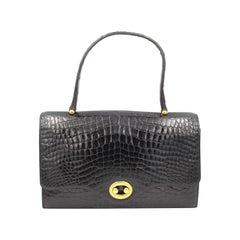 Hermes Vintage  Black Croco Vintage Boutonnière Bag